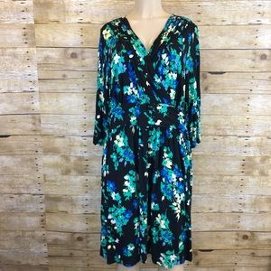 Elle Floral V Neck Midi Dress Size 1X